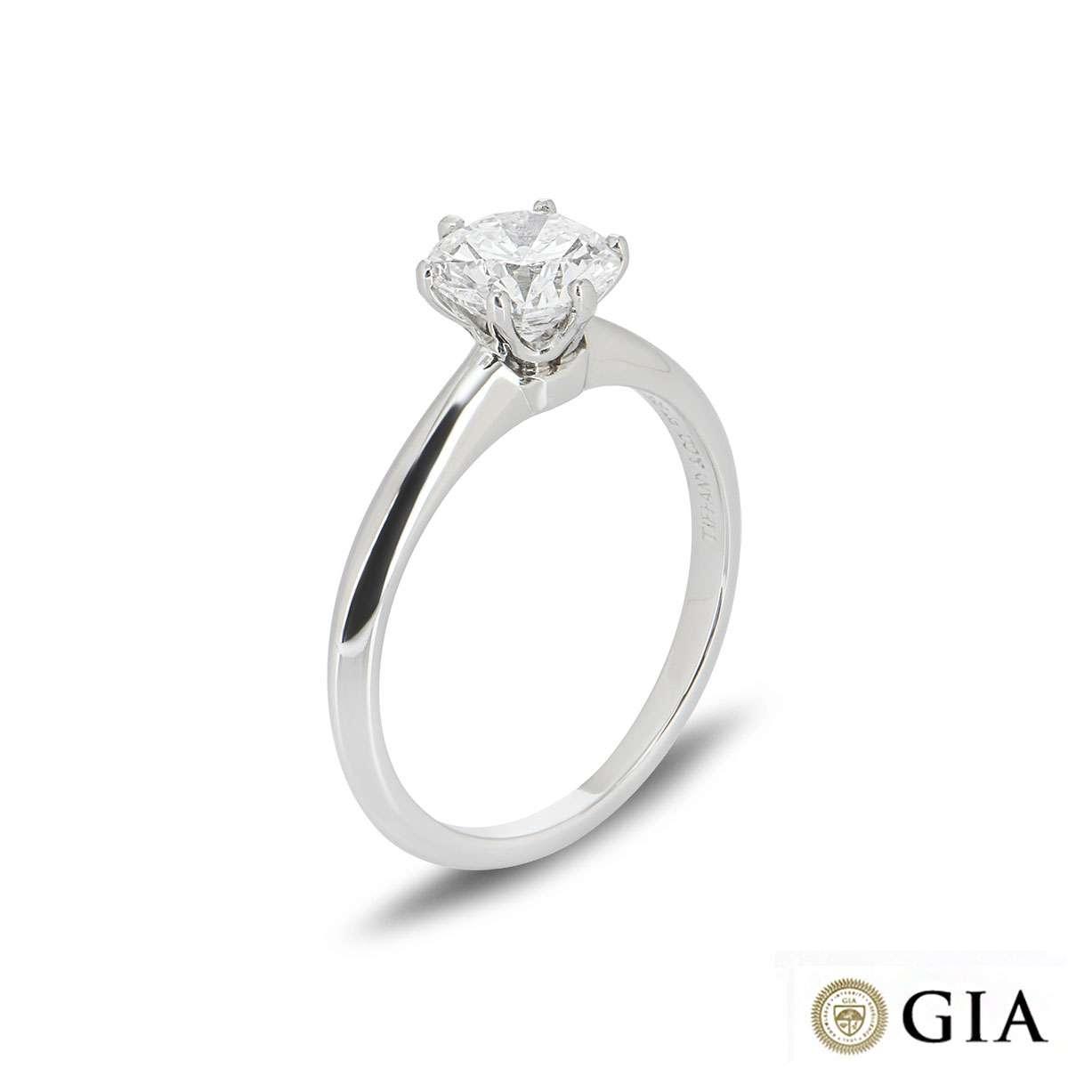 Round Brilliant Cut Diamond Ring in Platinum 1.02ct F/VVS2 XXX